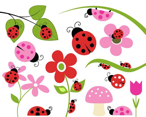 Ladybug buy 2 get free lady bug clip art flower leaf branch 2