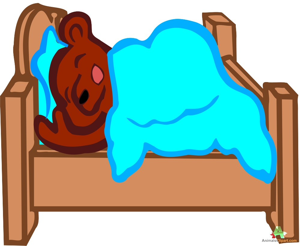 Sleeping bear in bed clipart free design download