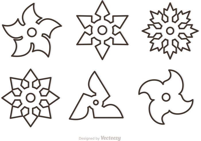 Star outline outline ninja star vectors download free vector art stock