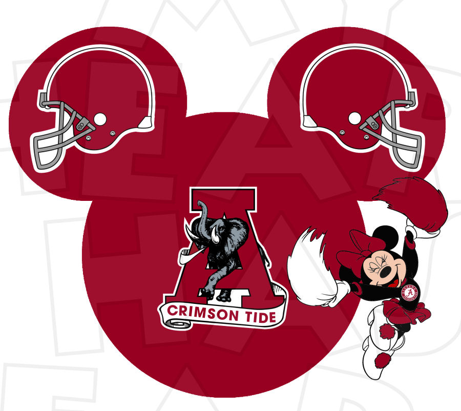 Alabama crimson tide football with minnie mouse cheerleader clipart