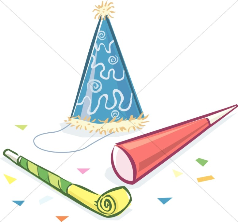 Birthday hat and noise makers church clipart