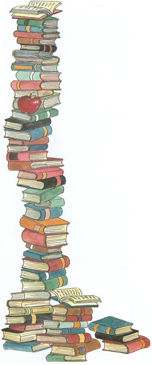Cartoon stack of books clipart 2 2