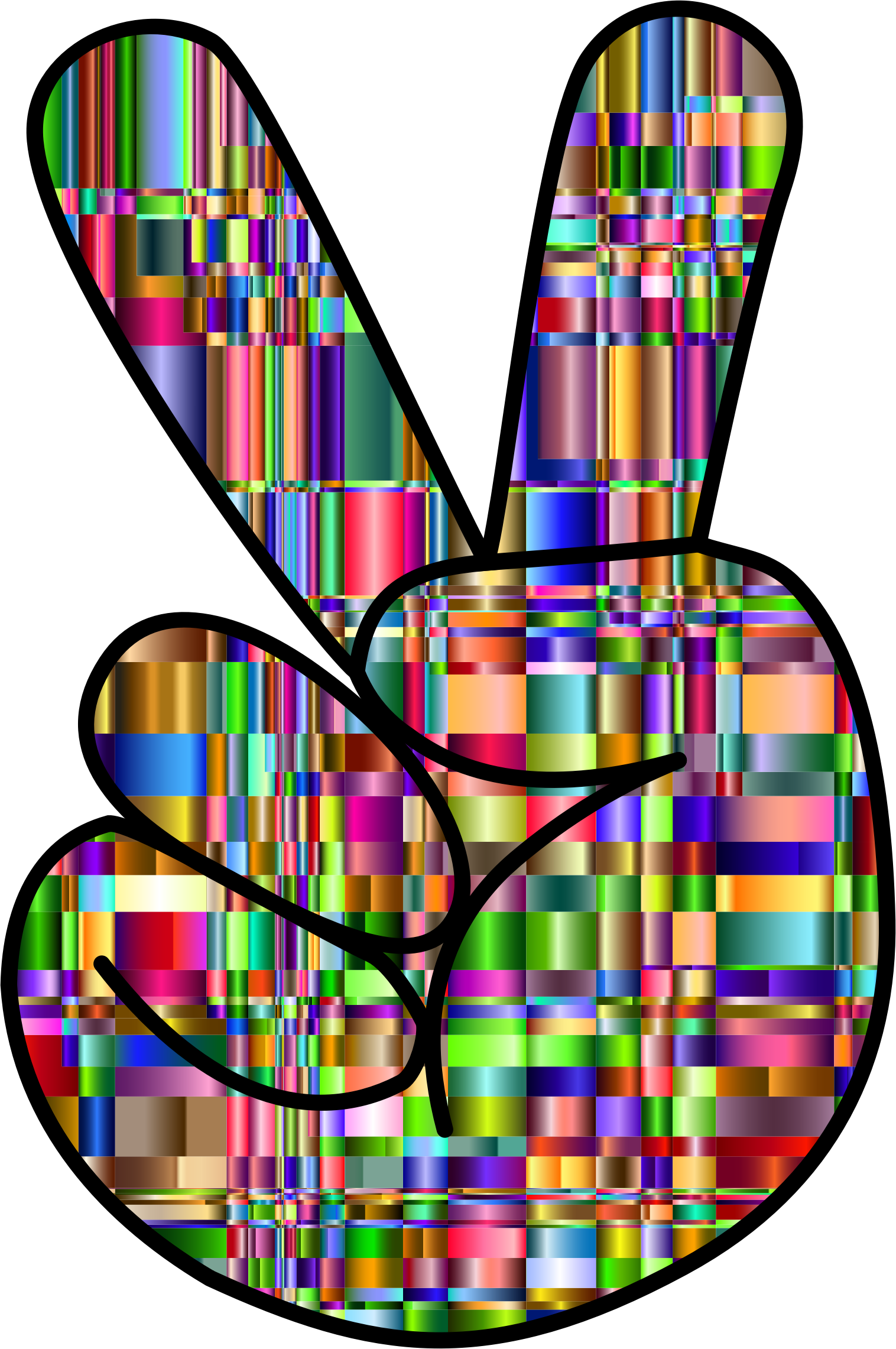 Clipart checkered chromaticic hand peace sign