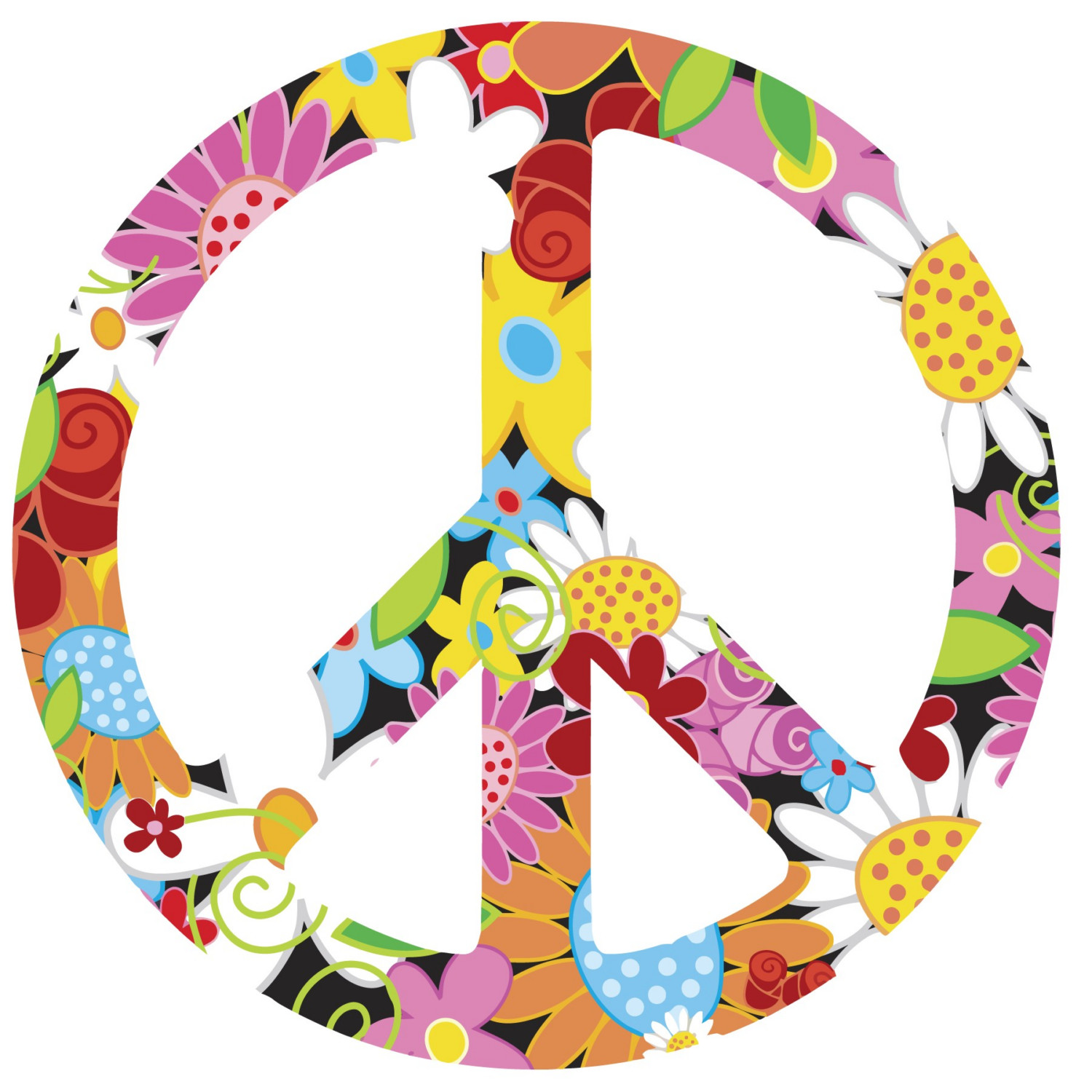 Clipart of hippy and peace sign collection
