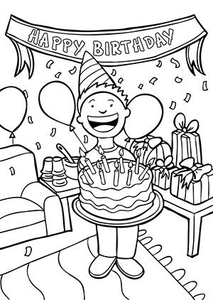 Happy birthday  black and white and white birthday clipart 2