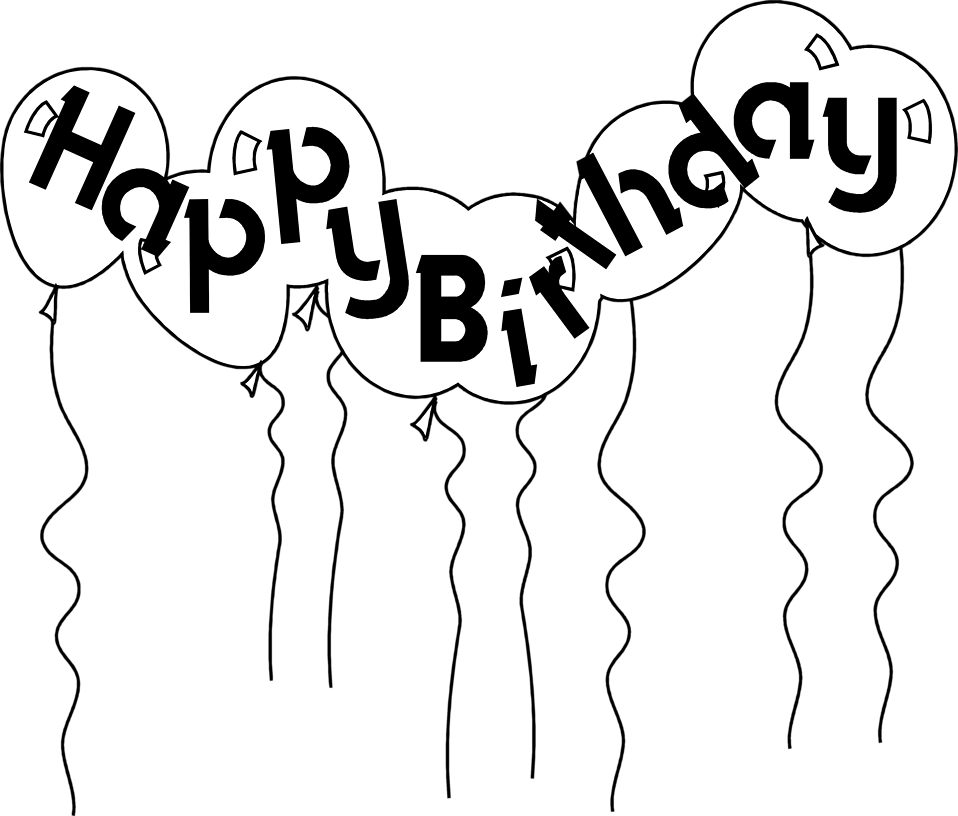 Happy birthday  black and white birthday black and white happy birthday clipart 2