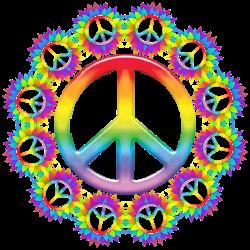 Rainbow peace surrounding peace signs clip art