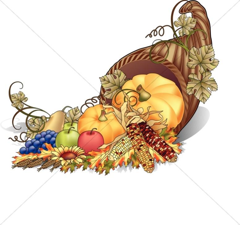 Cornucopia color clipart thanksgiving