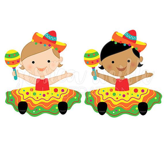 Fiesta baby girl cute digital clipart clip art