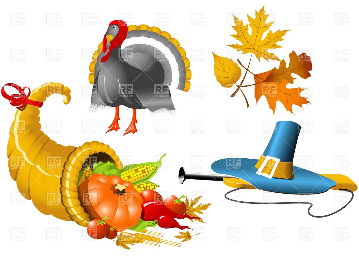 Thanksgiving cornucopia and pilgrim'hat vector image 9 clipart