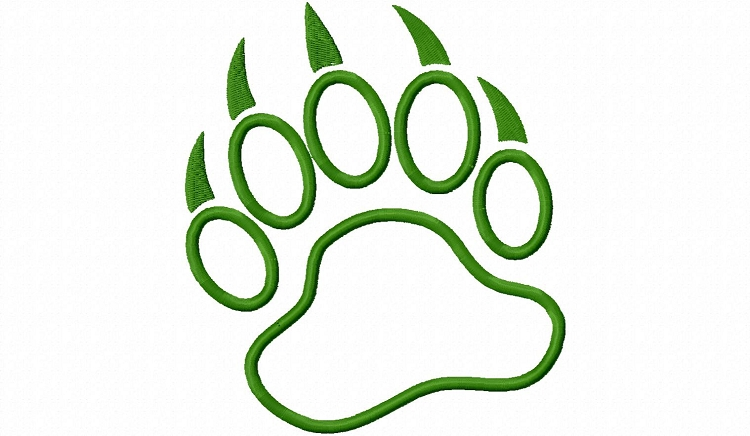 Applique bear paw print machine embroidery design clipart