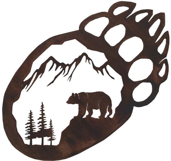 Bear paw print bear paw wall hanger laser cutting paws clipart