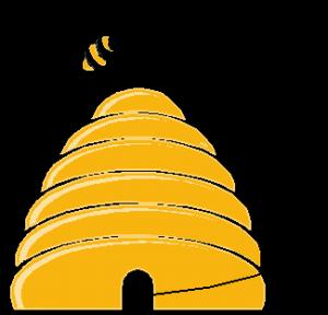 Beehive bee hive cartoon clipart image