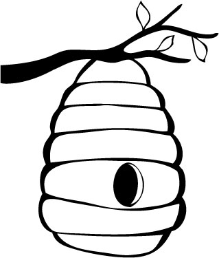 Beehive bee hive outline clip art