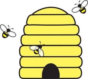 Beehive clipart image with honey bees swarming about