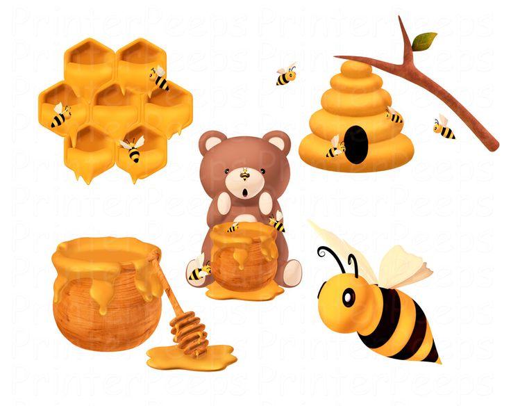 Beehive honey bee clipart scrapbook pack bear hive by printerpe 6