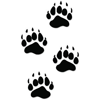 Black bear paw prints 6 car truck laptop wall vinyl clip art