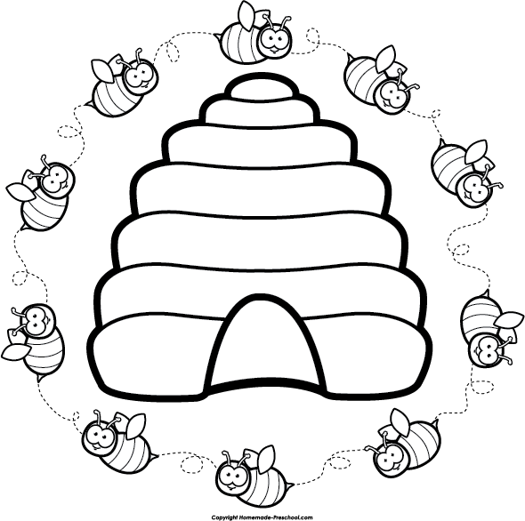 Bumblebee clipart beehive pencil and in color bumblebee