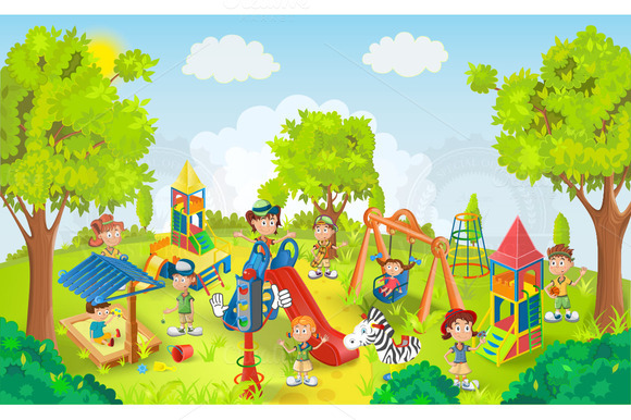 Children playing in the park clipart 2