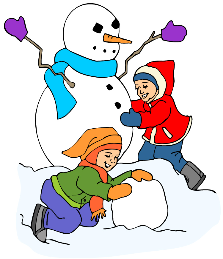 Children playing kids playing in snow clipart clip art 2