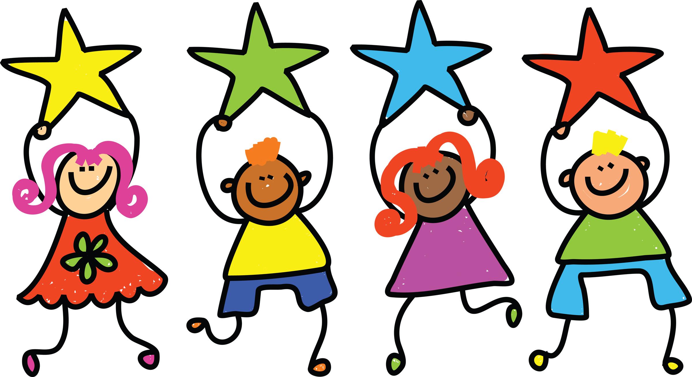 Children playing super star student clipart children star