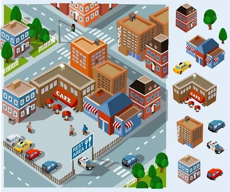 Community vector construction ofmunity facilities images clipart