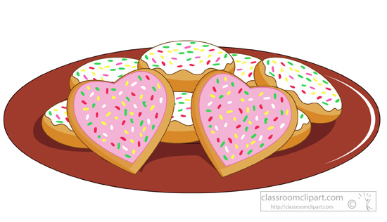 Dessert clipart plate with heart shaped sugar cookies