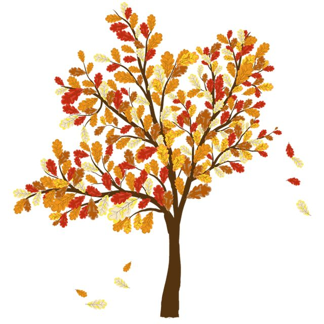 Fall leaves colorful clip art for the fall season tree with