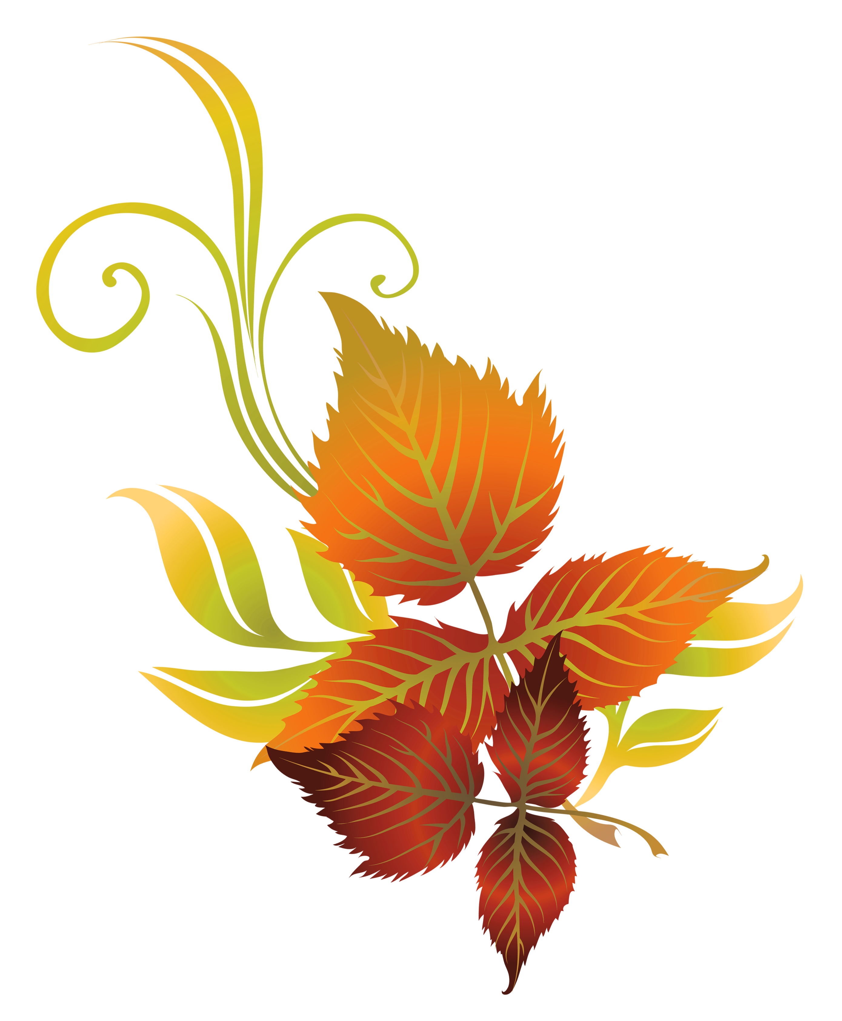 Fall leaves deco clipart picture fonts
