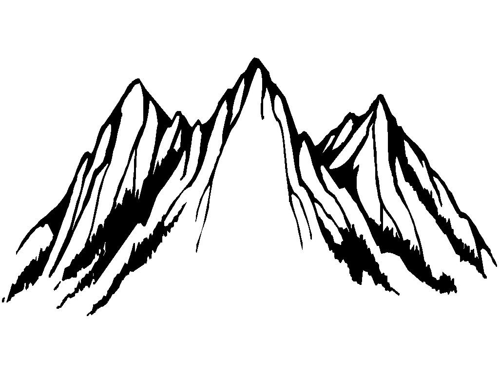 Mountain black and white mountain clipart free