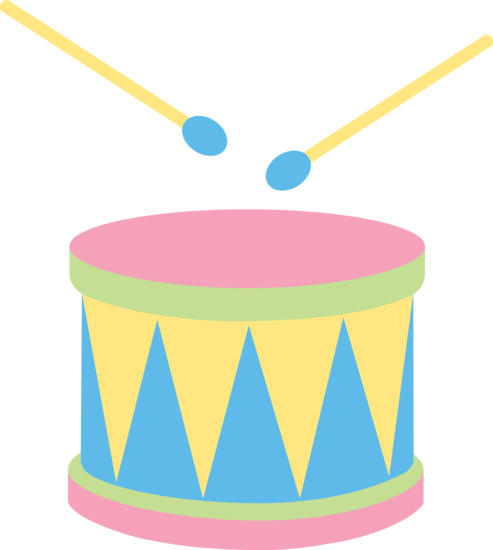 Pastel kids drum free clip art