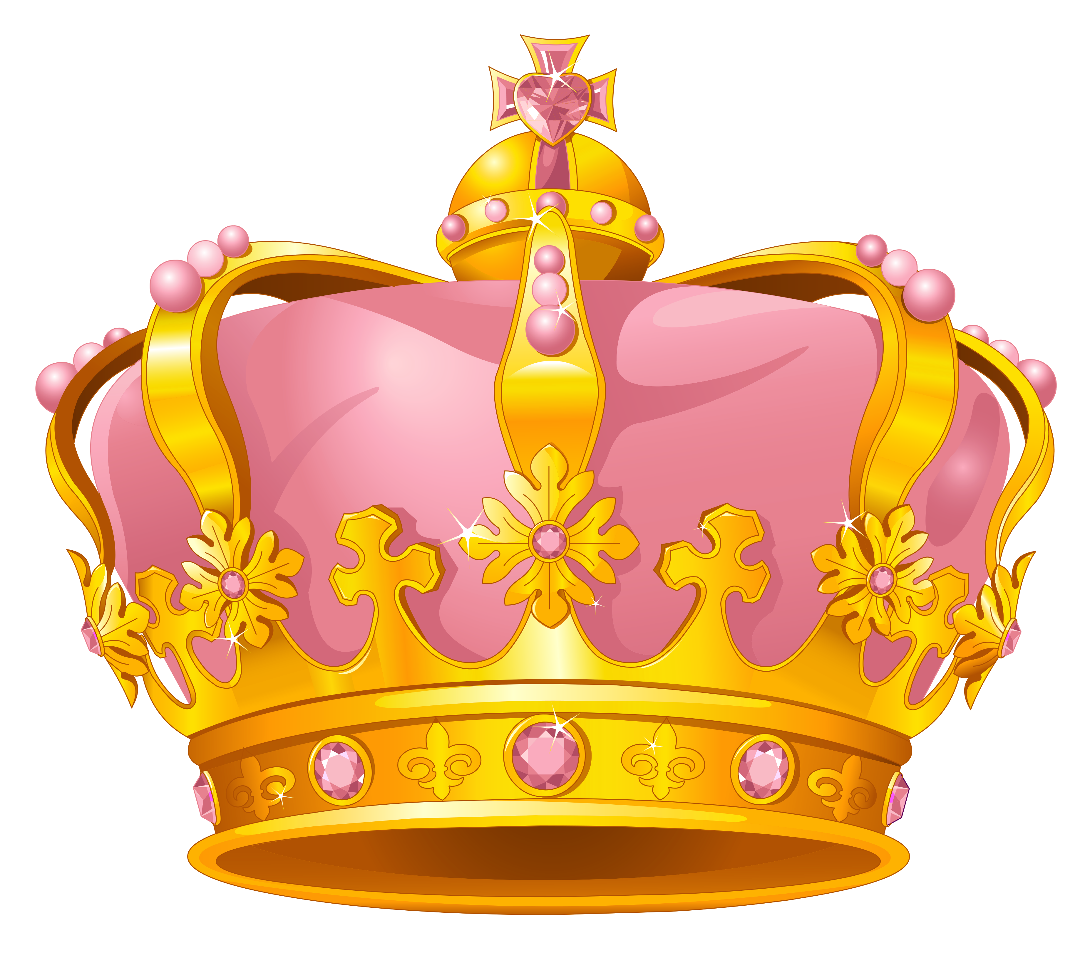Pink and gold crown clipart