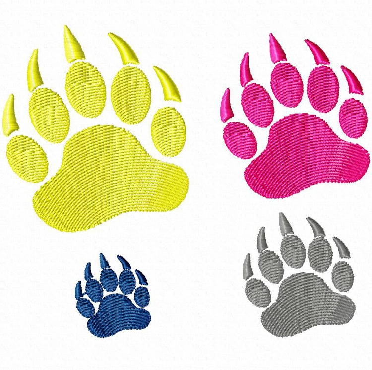 Small bear paw print machine embroidery design clipart