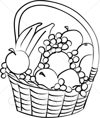 Vegetables  black and white basket of vegetables clipart free images