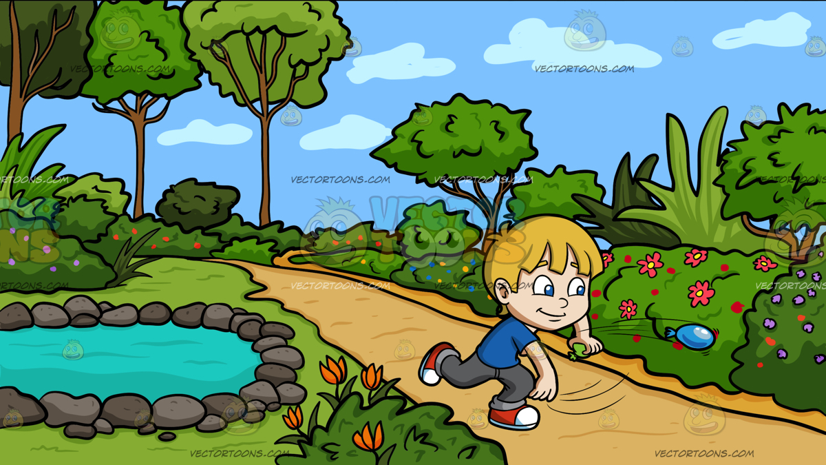 A boy playing with water balloons at country garden pond clip art