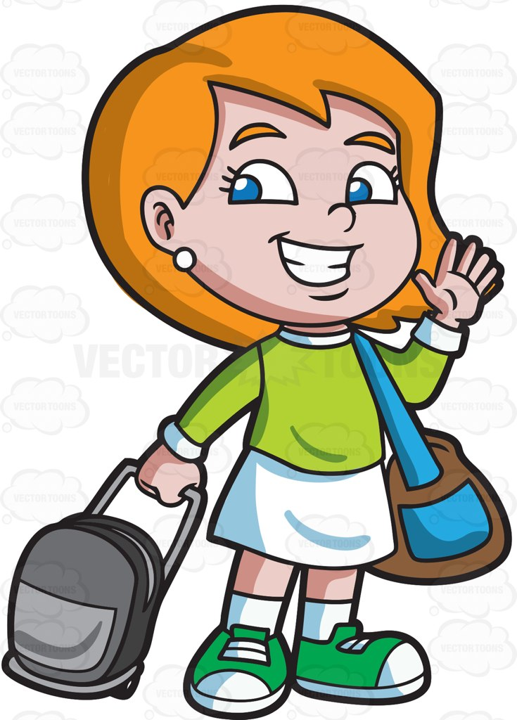 A girl saying goodbye before she travels cartoon clipart vector