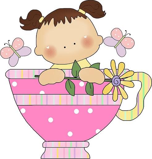 Baby girl in tea cup clip art clipart