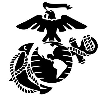 Black and white anchor marine corps eagle globe
