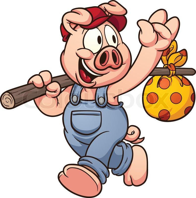 Cartoon pig waving goodbye vector clip art illustration with