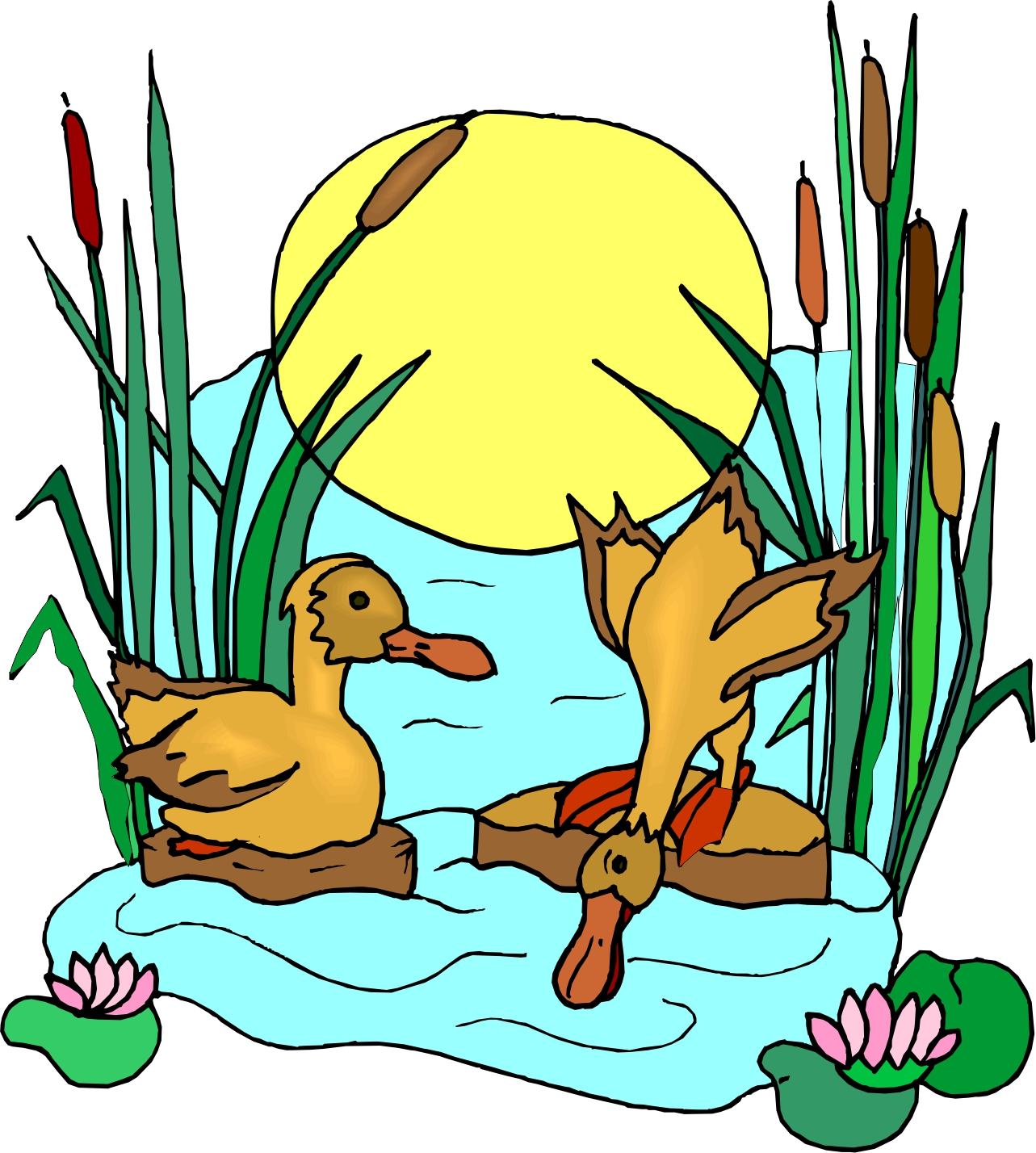 Cartoon pond with ducks images pictures becuo clip art library