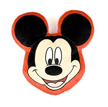 Character world disney mickey mouse head shaped plush cushion