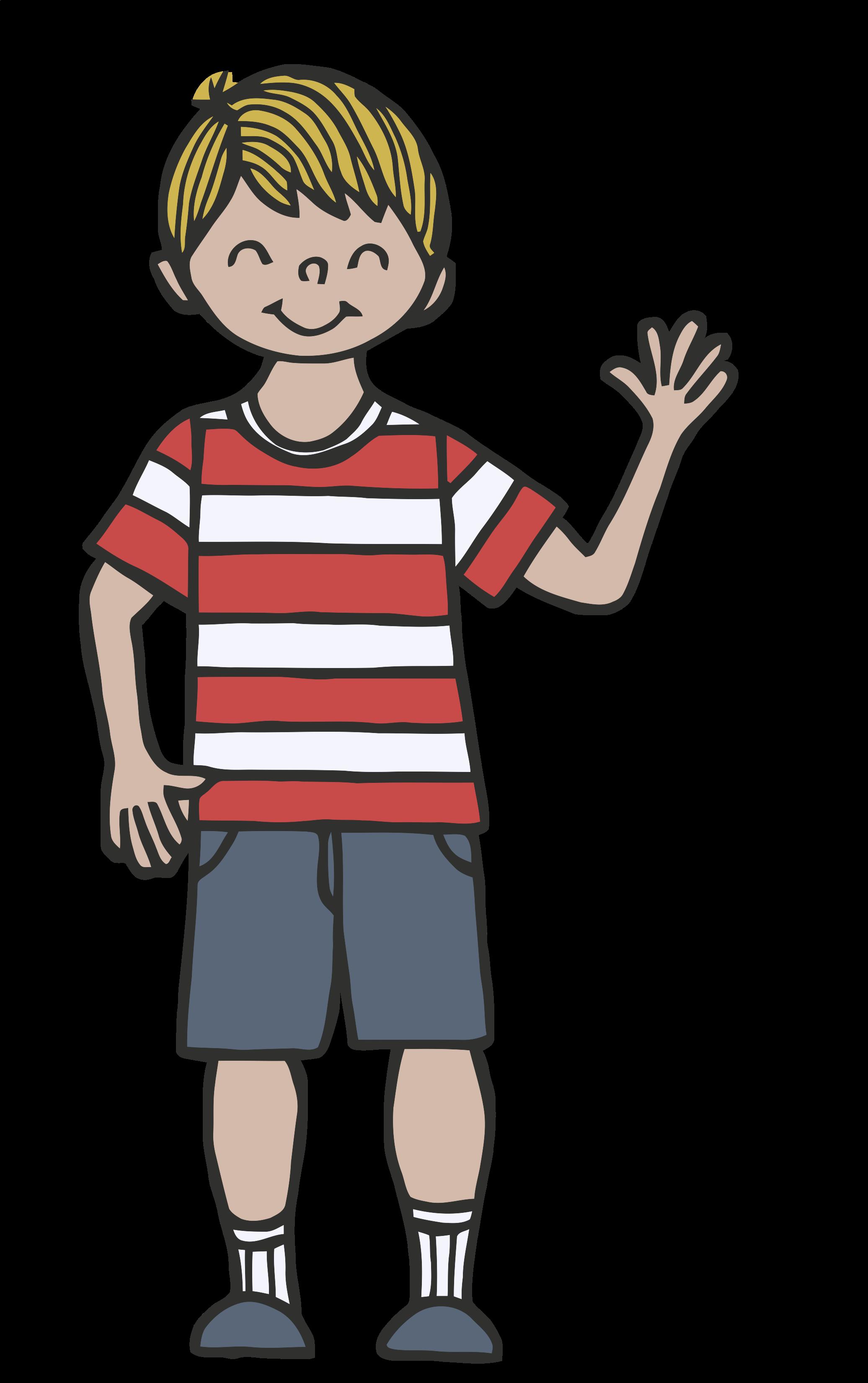 Child waving goodbye clipart