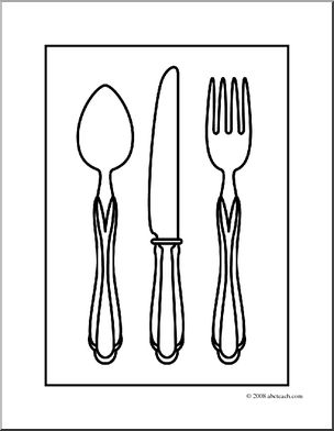 Clip art silverware coloring page abcteach