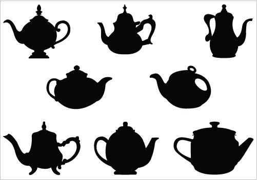 Fancy tea cup silhouette clipart
