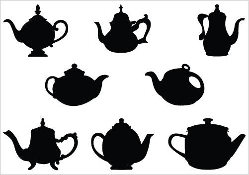 Fancy tea cup silhouette clipart