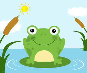 Frog clipart image on a lily pad in pond