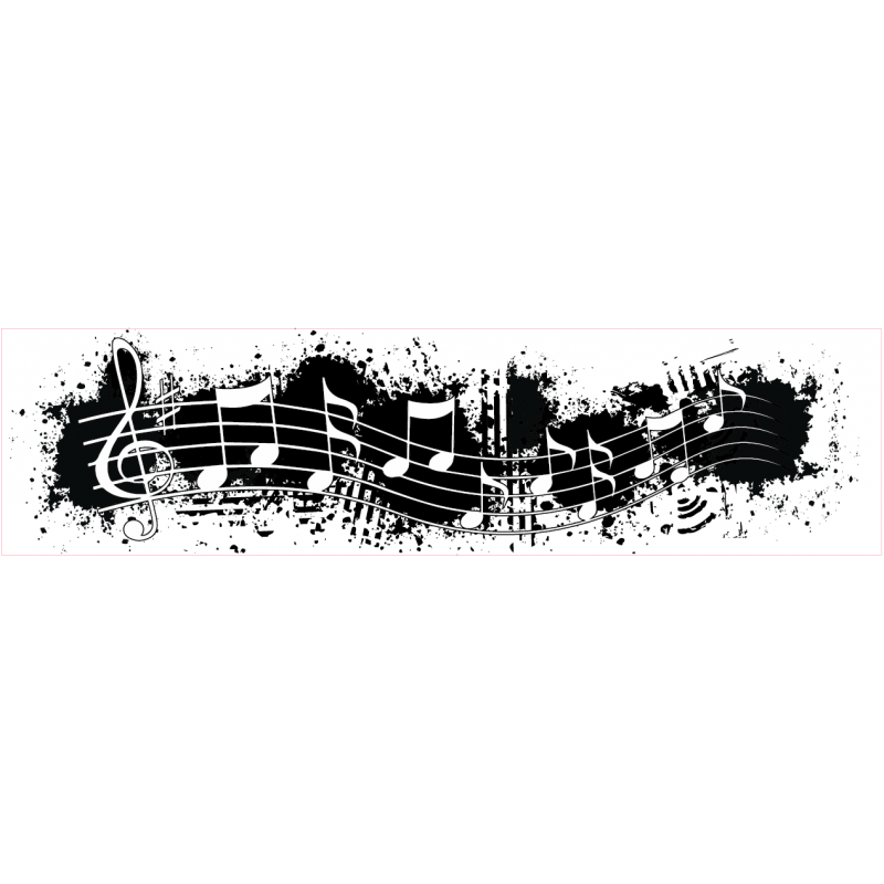 Grunge music note border stamp