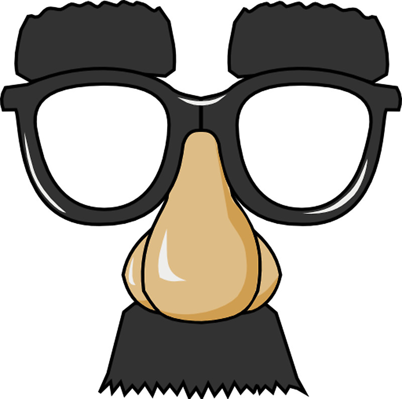 Hilarious and laughable cartoon face with nerd glasses big clip art