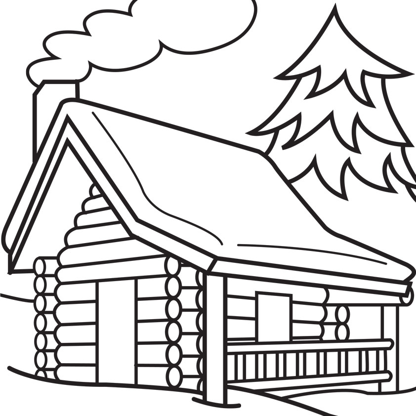 House  black and white clip art black and white log cabin 6 clipartbarn