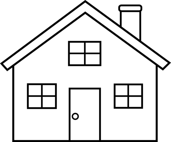 House  black and white house outline clipart black and white free